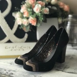 Missoni black suede chevron heels sz 7.5